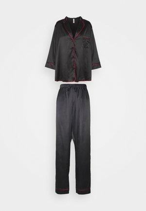 LONG WITH CONTRAST PIPING - Pyjamas - black/wine