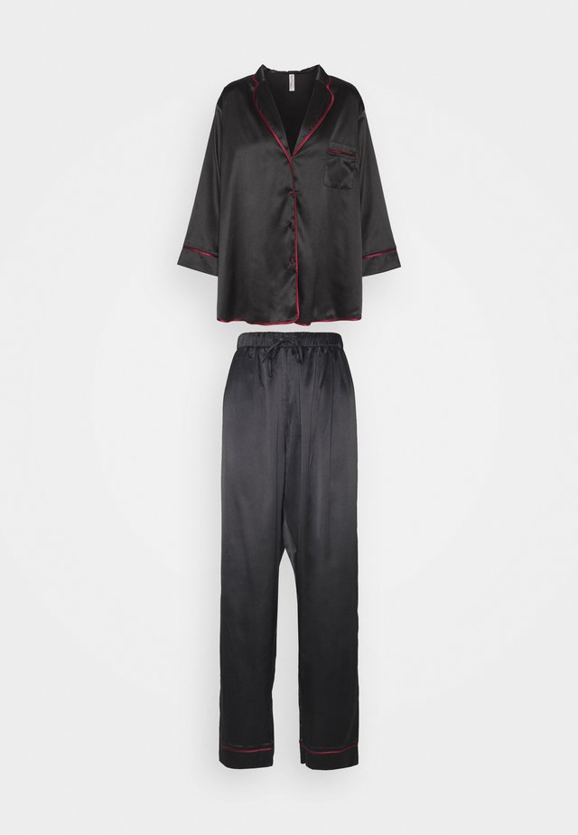 LONG WITH CONTRAST PIPING - Pyjamas - black/wine