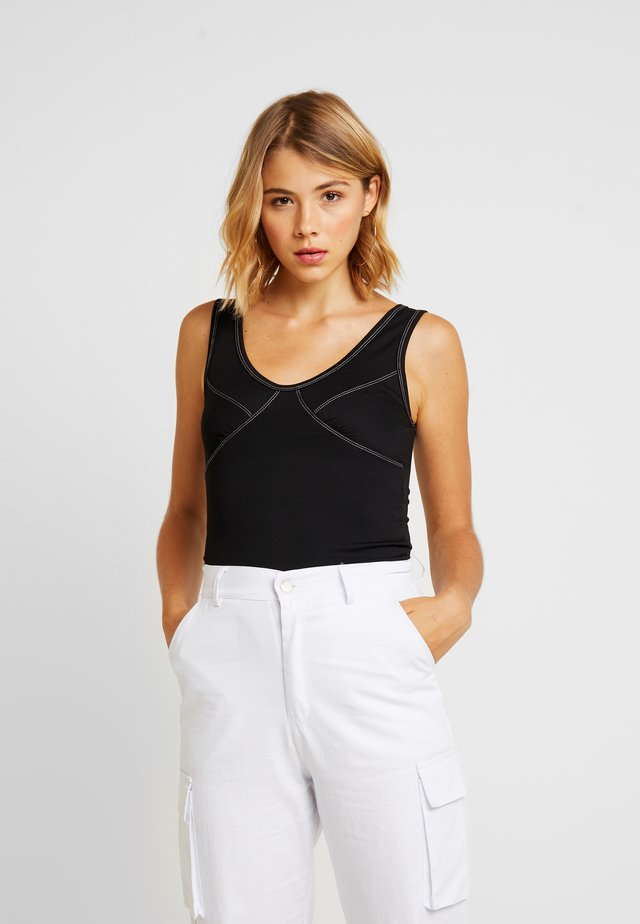 CONTRAST BODYSUIT - Top - black