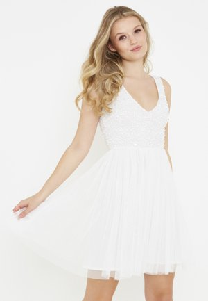 KARA EMBELLISHED SEQUINS SKATER - Day dress - ivory