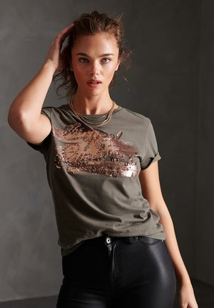 THE REAL  - Print T-shirt - olive night