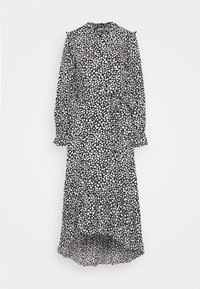 FRILL NECK MIDI SMOCK DRESS DALMATIAN - Shirt dress - black