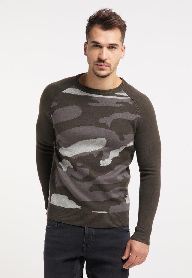 Sweter - oliv camouflage