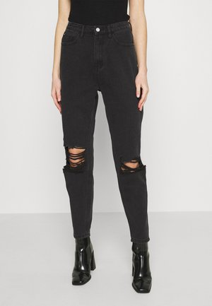 BUSTED KNEE MOM JEAN - Džíny Relaxed Fit - black