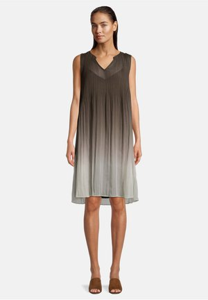 MIT PLISSEE - Day dress - khaki/white