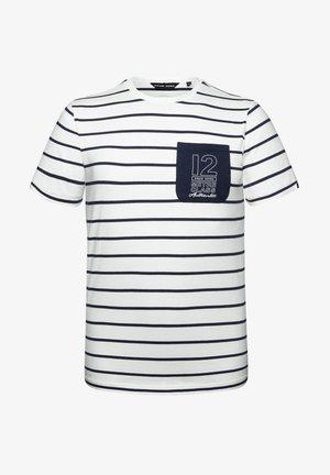 Print T-shirt - white navy