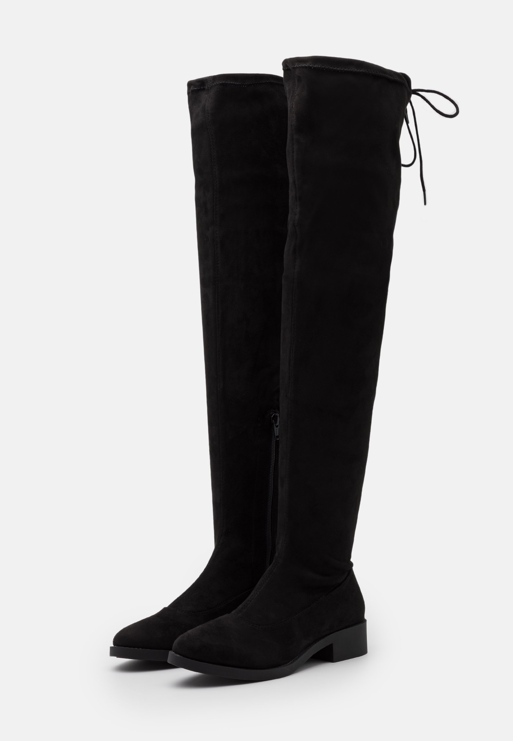OLIVIA HIGH LEG FLAT Overknee laarzen black