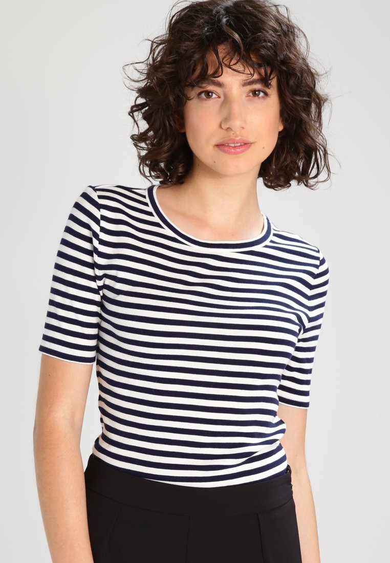 J.CREW - PERFECT FIT TEE  - Triko s potiskem - navy/ivory