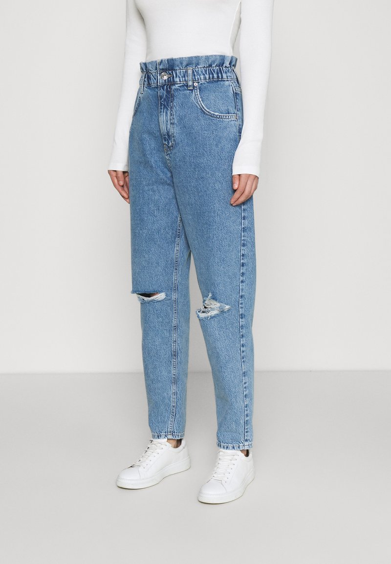 Gina Tricot - PAPERBAG MOM - Relaxed fit jeans - springblue