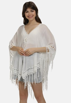 PONCHO - Cape - wollweiss
