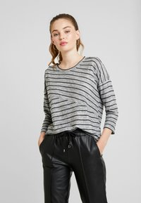 Vero Moda - VMCLAUDIA 3/4 O NECK - Long sleeved top - light grey melange/black - 0