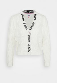 Tommy Jeans - BRANDED NECK CARDIGAN - Cardigan - snow white - 6