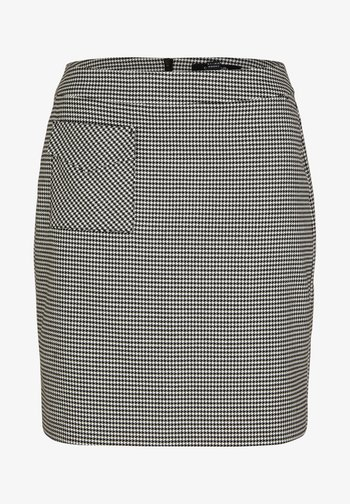 MIT HAHNENTRITT-MUSTER - A-line skirt - black minimal houndstooth