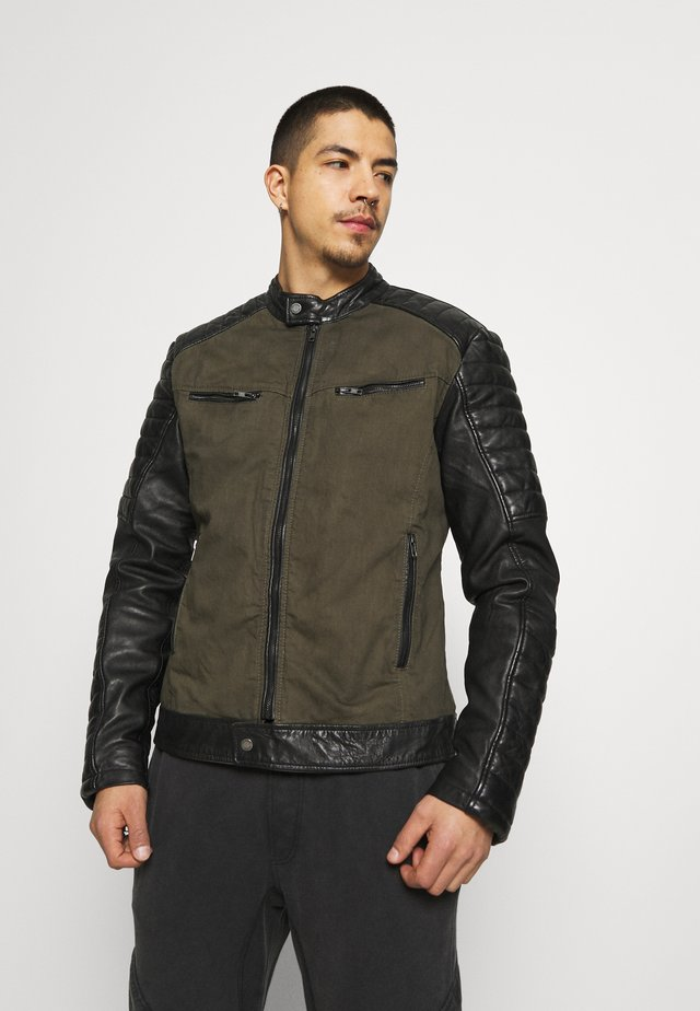 BEANDY - Leather jacket - khaki