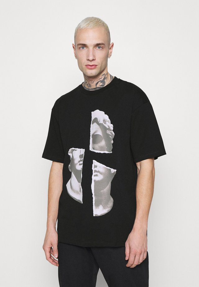 FACE COLLAGE PRINT TEE - T-shirt print - black