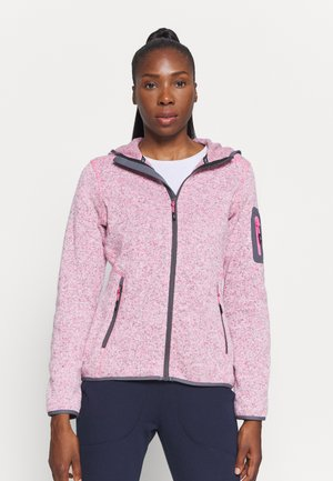 WOMAN JACKET FIX HOOD - Fleece jacket - pink fluo melange/graffite
