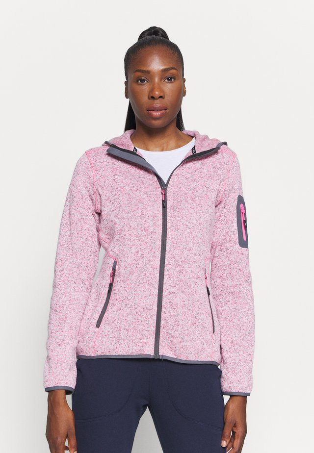 WOMAN JACKET FIX HOOD - Fleecová bunda - pink fluo melange/graffite