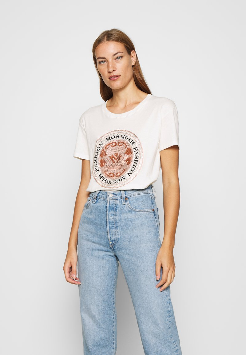Mos Mosh - LEAH TEE - Print T-shirt - ecru
