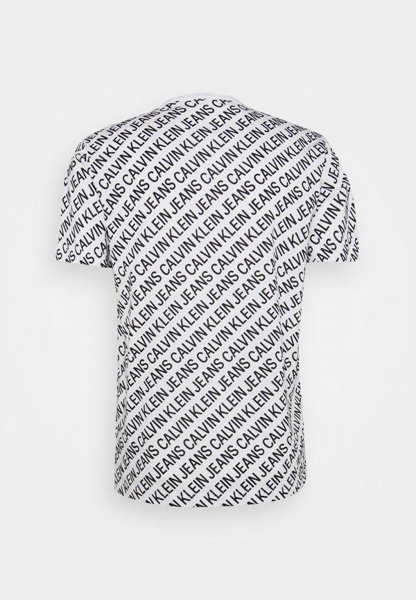Calvin Klein Jeans DIAGONAL TEE - T-shirt z nadrukiem - bright white/biały Odzież Męska HLUM
