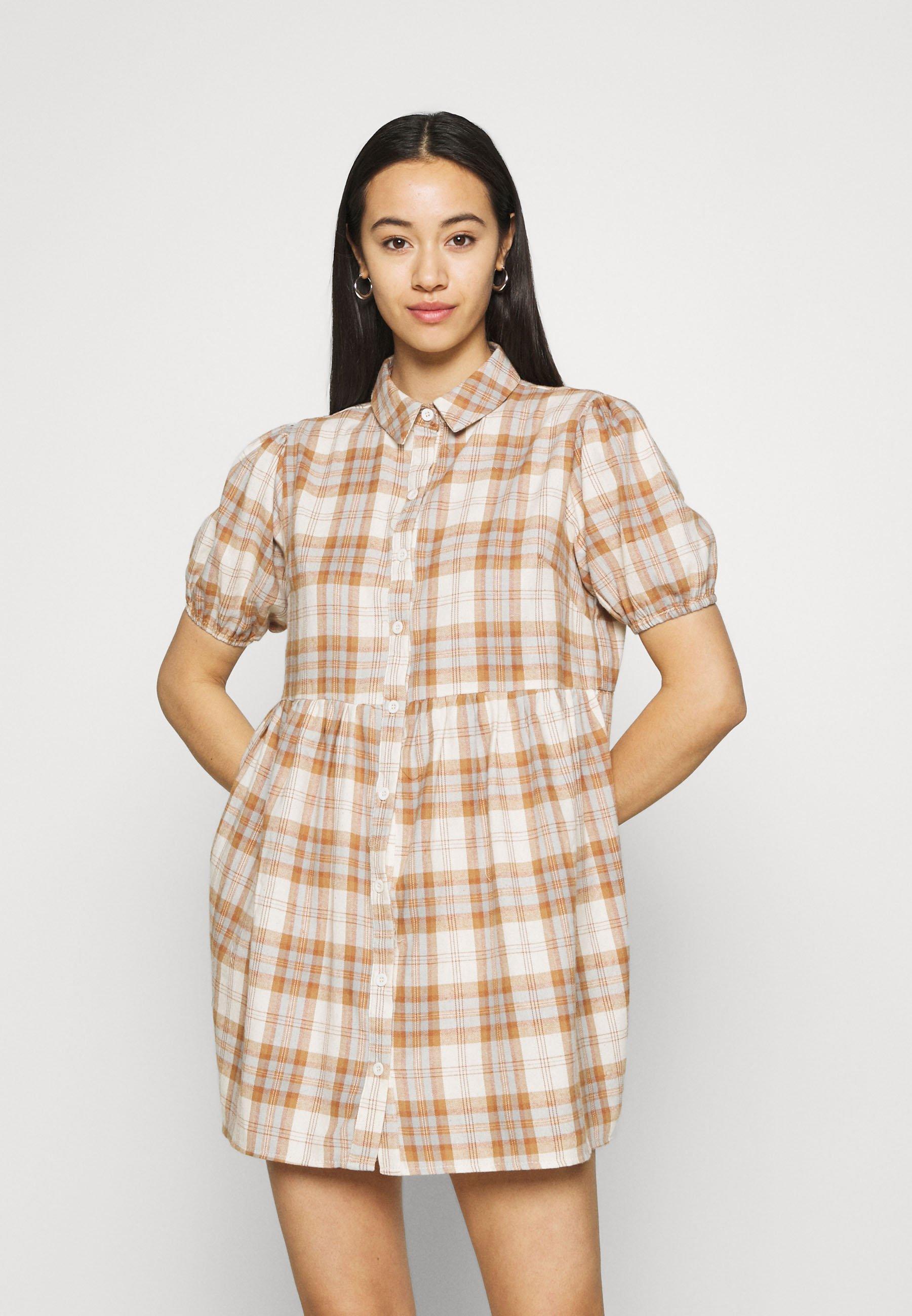 Women CHECK SHORT SLEEVE SHIRT DRESS - Shirt dress