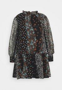 Simply Be - HIGH NECK SHEER SLEEVE SMOCK DRESS - Denní šaty - black - 0