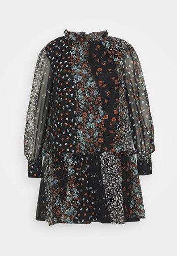 HIGH NECK SHEER SLEEVE SMOCK DRESS