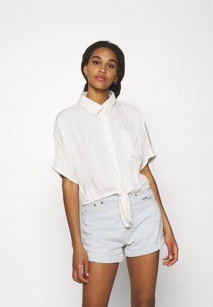 CORE TIE FRONT - Button-down blouse - cream