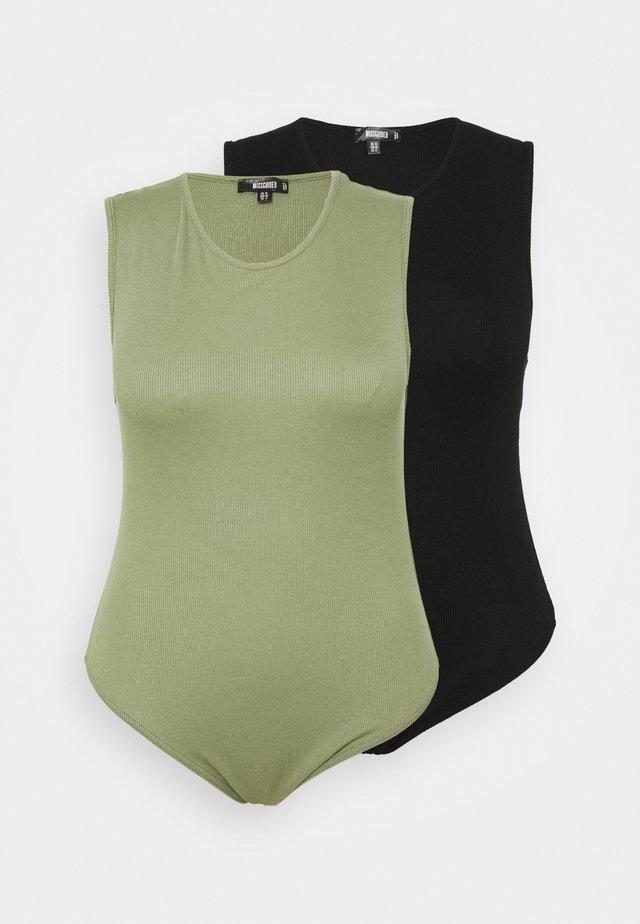 BODYSUIT 2 PACK - Toppe - black/khaki