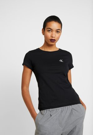 EMBROIDERY SLIM TEE - T-shirts - black