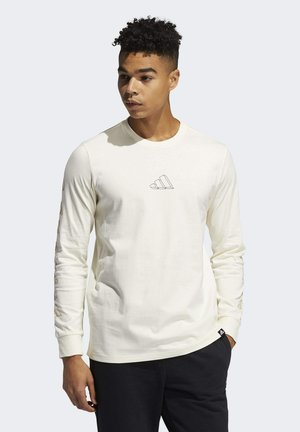ADIDAS GEO LONG SLEEVE GRAPHIC T-SHIRT - Long sleeved top - white