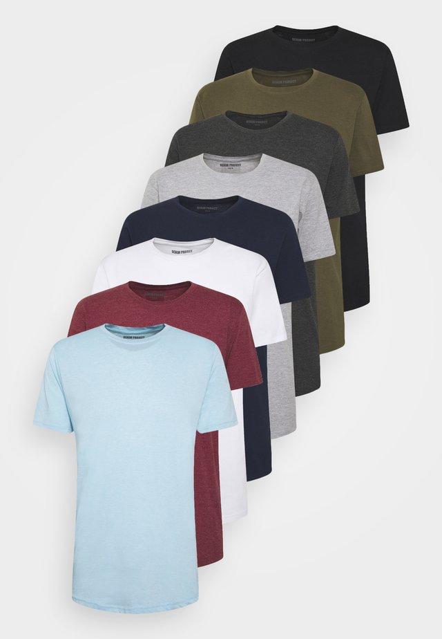 LONGY TEE 10 PACK - T-shirt basique - 2 white/ 2 black/ 1 dgm/ 1 lgm/ 1 navy/ 1 bordeaux/ 1 olive/ 1 light blue