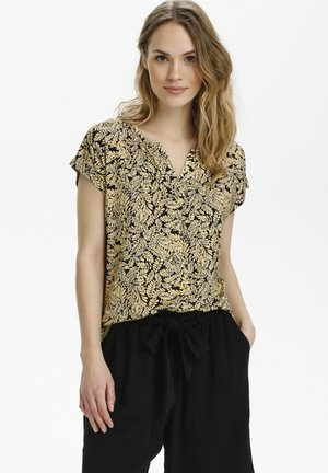 Blouse - black / yellow leaf