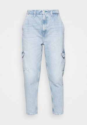MOM JEAN CARGO  - Pantalon cargo - denim light