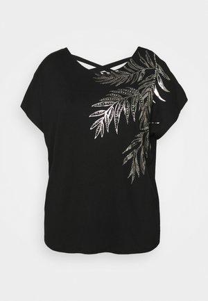 PLACEMENT PALM PRINT CROSS BACK - Print T-shirt - black
