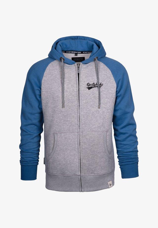 Zip-up hoodie - blau/grau