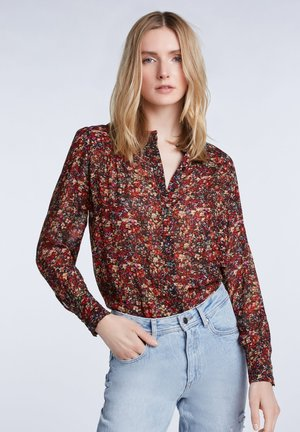 Button-down blouse - black red