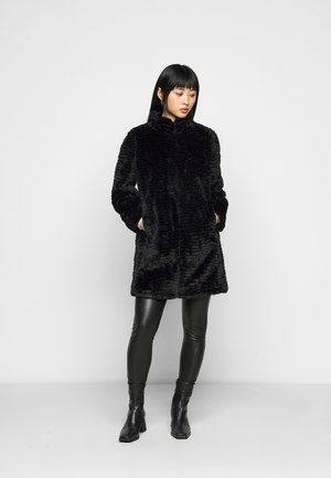 WAVE LONGLINE FUNNEL NECK COAT - Winter coat - black