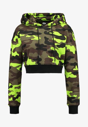 LADIES CROPPED PRINTED CAMO HOODY - Hættetrøjer - frozenyellow