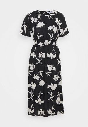FLORAL SHIRRED MIDI DRESS - Denní šaty - black