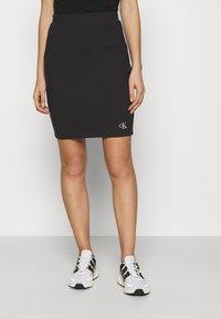 Calvin Klein Jeans - SLUB MINI SKIRT - Pencil skirt - black - 0