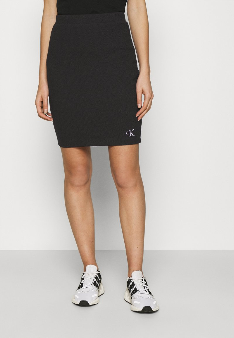Calvin Klein Jeans - SLUB MINI SKIRT - Pencil skirt - black