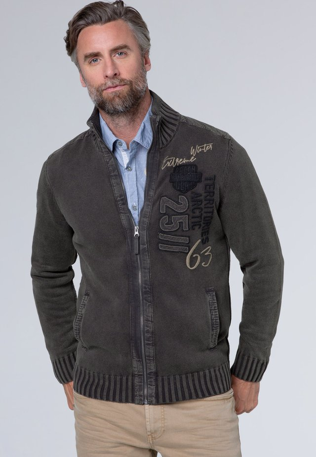 STONE WASHED MIT ARTWORK - Cardigan - charcoal
