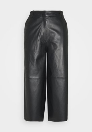 MEGHAN - Leather trousers - black