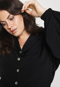 Simply Be - TIE FRONT BUTTON THROUGH BLOUSE - Button-down blouse - black - 3