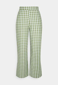 Pieces Petite - PCPIRA WIDE PANTS - Trousers - bright white/turtle green - 0