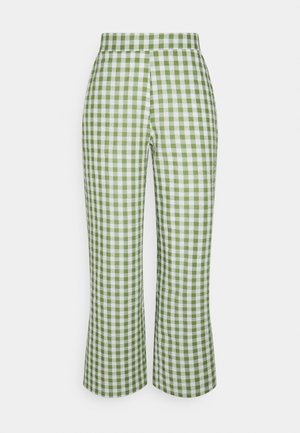 PCPIRA WIDE PANTS - Trousers - bright white/turtle green