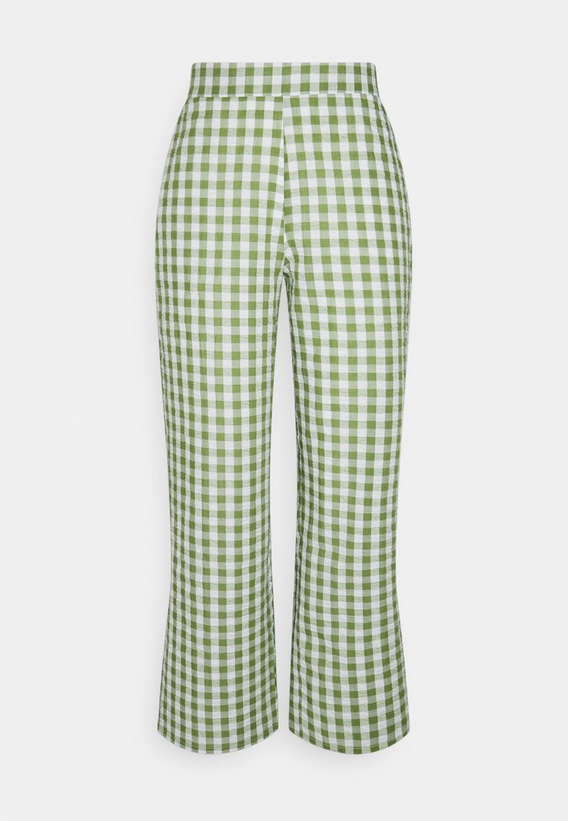 Pieces Petite - PCPIRA WIDE PANTS - Trousers - bright white/turtle green