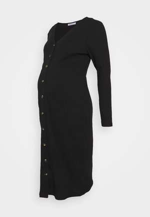 FRIDAY LONG SLEEVES BUTTON FRONT DRESS - Jumper dress - black