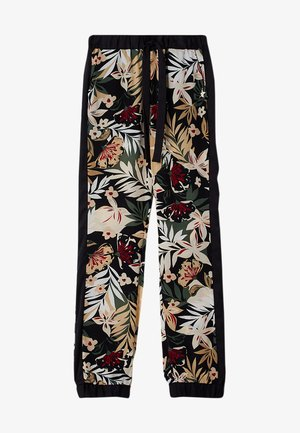 Tracksuit bottoms - black with tropical print