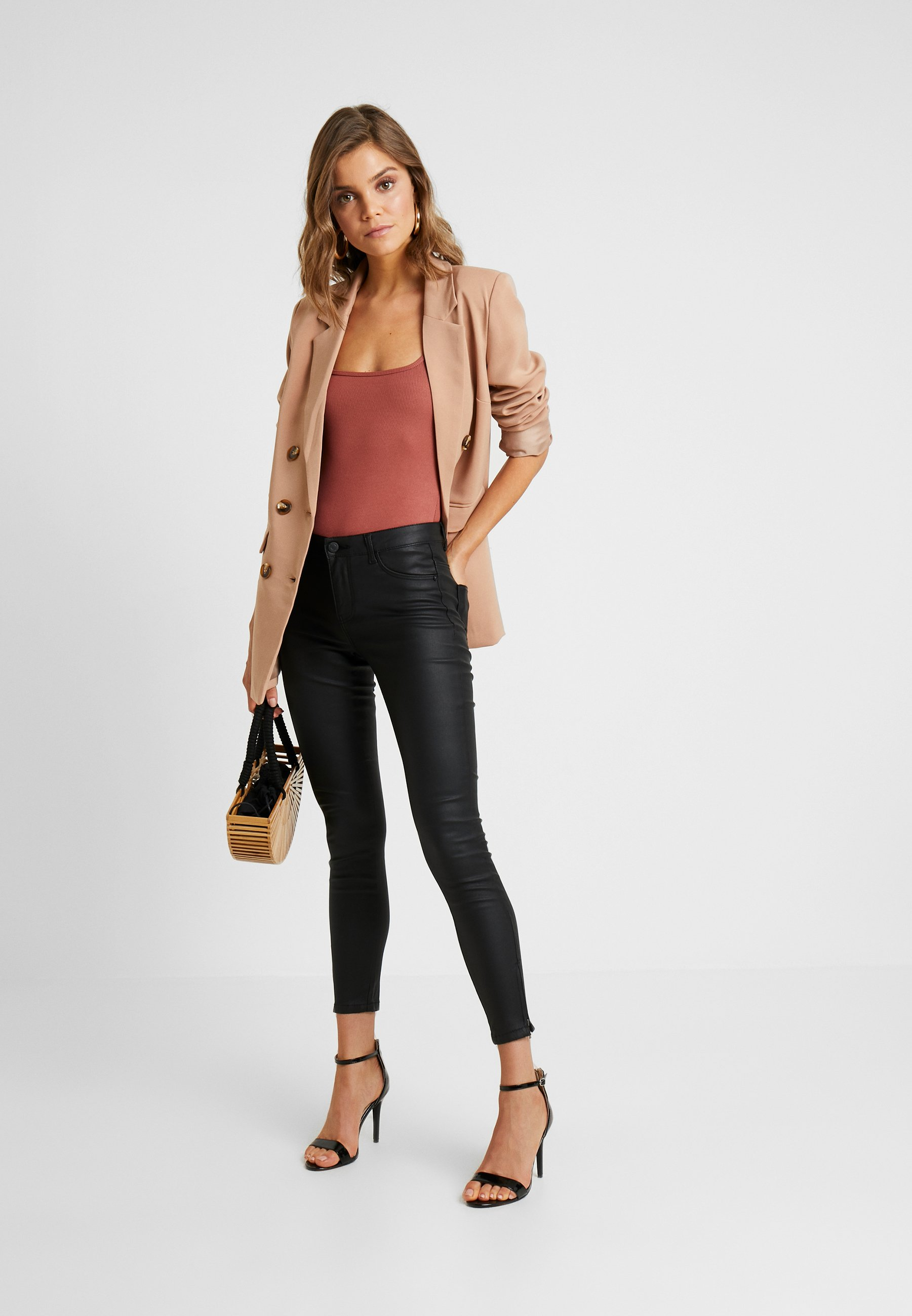 Donna NMKIMMY COATED ANKLE PANTS - Jeans Skinny Fit
